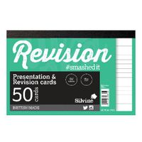 Silvine White Revision 50-Card Notepads, Pack of 20 - CR50