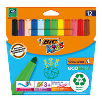 Bic Kids Visa XL Assorted Colours Felt Tip Pens (Pack of 12) - 829007