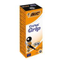 BIC Cristal Grip Medium Black Ballpoint Pens, Pack of 20 - 802800