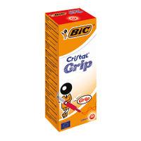 BIC Cristal Grip Medium Red Ballpoint Pens, Pack of 20 - 802803