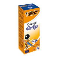 BIC Fine Blue Cristal Grip Orange Ballpoint Pens, Pack of 20 - 811926