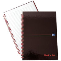Black n Red A4 Wirebound Hardback Ruled Notebook - Pack of 5 - B67004
