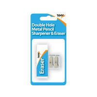 Tiger Metal Double Hole Sharpener and Eraser Set, Pack of 12 - 302023