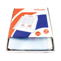 View more details about Esselte Pocket Top Opening Embossed A4 Clear (Pack of 100) 23752