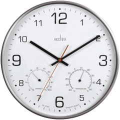 View more details about Acctim Komfort 30.5cm Metal Thermo Hygro Wall Clock - 29147