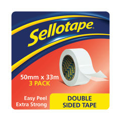 View more details about Sellotape Double Sided Tape 50mmx33m (Pack of 3) 1447054