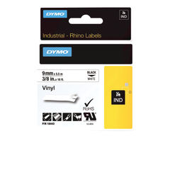 View more details about Dymo Vinyl Tape 9mm Black on White - 18443