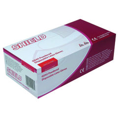 View more details about Shield Medium Natural Powdered Latex Gloves, Pack of 100 - GD45