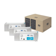 View more details about HP 81 Cyan DesignJet Dye Ink Cartridges (Pack of 3) C5067A