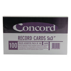 View more details about Concord Assorted 127 x 76mm Ruled Record Cards, Pack of 100 -16099/160