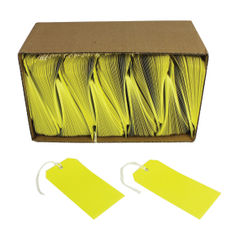 View more details about Yellow 120 x 60 mm Strung Tags (Pack of 1000) – KF01626