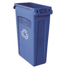 View more details about Rubbermaid Blue 87 Litre Slim Jim Venting Channel Container - 3540-60-BLU