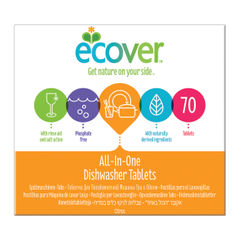 View more details about Ecover All-In-One Dishwasher Tablets, Pack of 70 - 1002126