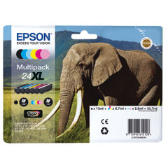 View more details about Epson 24XL High Capacity CMYKLCLM Ink Cartridge Multipack - C13T24384011