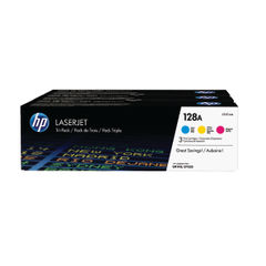 View more details about HP 128A Cyan/Magenta/Yellow Laserjet Toner Cartridges (Pack of 3) CF371AM