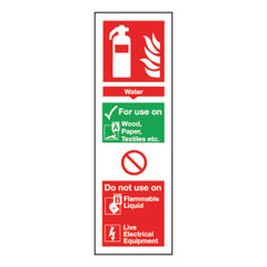 View more details about Fire Extinguisher Water 300 x 100mm Self-Adhesive Safety Sign - F200/S