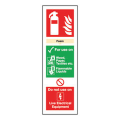 View more details about Fire Extinguisher Foam 300 x 100mm Self-Adhesive Safety Sign - F202/S