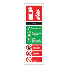 View more details about Fire Extinguisher Carbon Dioxide 300 x 100mm Self-Adhesive Safety Sign - F203/S