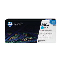 View more details about HP 650A Cyan Toner Cartridge - CE271A