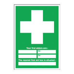 View more details about First Aid 600 x 450mm PVC Safety Sign - E91A/R