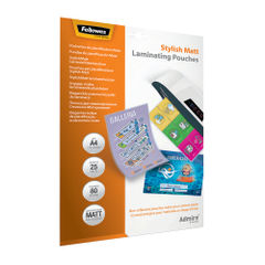 View more details about Fellowes Admire A4 Laminating Pouches Matte (Pack of 25) 5602101