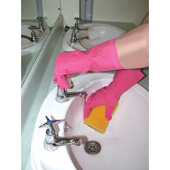 View more details about Shield Medium Pink Household Rubber Gloves - GR03