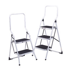 View more details about White 2 Tread Aluminium Folding Step Stool - 402790