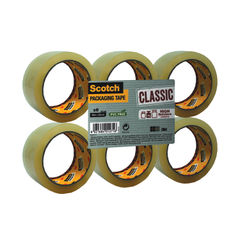 View more details about Scotch Clear Packaging Tape Polypropylene 50mmx66m (Pack of 6) C5066SF6