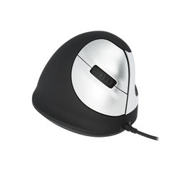 View more details about R-GO Black/Silver Medium Right Handed Wired Ergonomic Mouse - RGOHE
