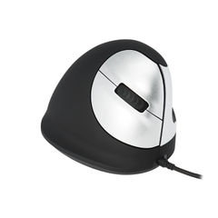 View more details about R-GO Black/Silver Medium Left Handed Wired Ergonomic Mouse - RGOHELE