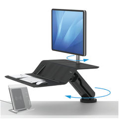 View more details about Fellowes Lotus Black Single Station Sit Stand Work Station - 8081501
