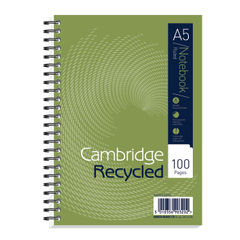 View more details about Cambridge Ruled Recycled Wirebound Notebook 100 Pages A5 (Pack of 5) 400020509