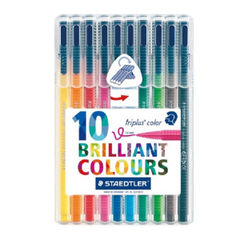 View more details about Staedtler Triplus Assorted Medium Pens, Pack of 10 - 323 SB10