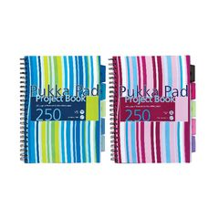 View more details about Pukka Pad Stripes Polypropylene Project Book 250 Pages A4 Blue/Pink (Pack of 3) PROBA4