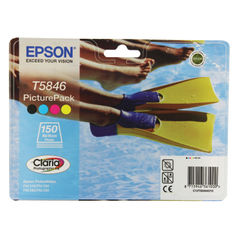 View more details about Epson T5846 Black /Cyan/Magenta/Yellow Inkjet Cartridges Pk4 Plus Photo Paper C13T58464010 / T5846