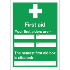 View more details about First Aid 600 x 450mm Self-Adhesive Safety Sign - E91A/S