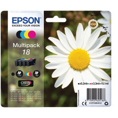 View more details about Epson 18 CMYK Ink Cartridge Multipack - C13T18064012