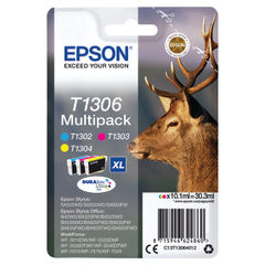 View more details about Epson T1306XL High Capacity CMYK Ink Cartridge Multipack - C13T13064012