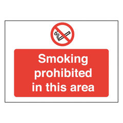View more details about Smoking Prohibited 450 x 600mm PVC Safety Sign - P35Z/R