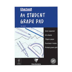 View more details about Clairefontaine Chartwell 5mm Quadrille Student Graph Pad A4 J6Q4B