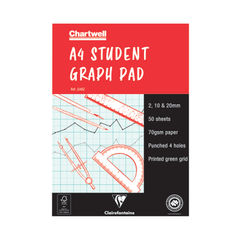 View more details about Clairefontaine Chartwell 2/10/20mm Graph Pad A4 50 Leaf J34B