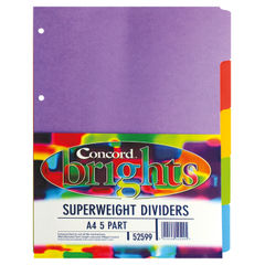 View more details about Concord Divider 5-Part A4 Heavyweight 270gsm Bright Assorted 52599/525