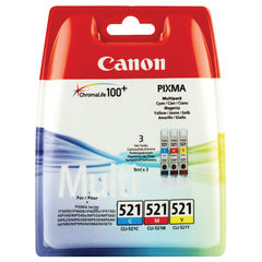 View more details about Canon CLI-521 Colour Ink Cartridge Multipack - CLI-521