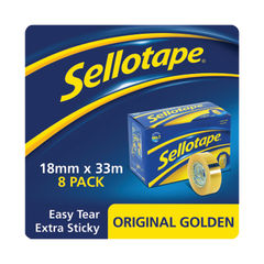 View more details about Sellotape 18mm x 33m Clear Tape, Pack of 8 - 1443251