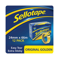 View more details about Sellotape 24mm x 66m Clear Tape, Pack of 12 - 1443268