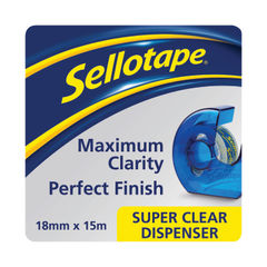 View more details about Sellotape Super Clear Tape and Dispenser 18mmx15m (Pack of 7) 1766006