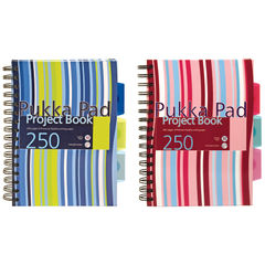 View more details about Pukka Pad Stripes Wirebound Hardback Project Notebook 250 Pages A5 Blue/Pink (Pack of 3) CBPROBA5