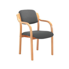 View more details about Jemini Charcoal Wood Frame Side Chair with Arms