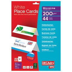 View more details about Decadry Perforated Place Cards 200gsm White (Pack of 44) OCB5107