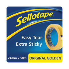 View more details about Sellotape Original Golden Tape 24mm x 50m (12 Pack Clipstrip)